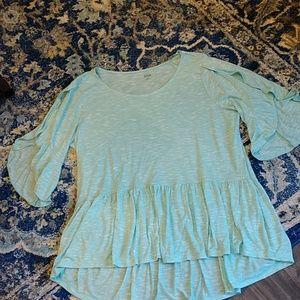 a.n.a.XL,NWT, aqua/white tunic,3/4 ruffle sleeves